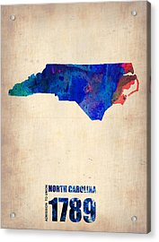 North Carolina Watercolor Map Acrylic Print by Naxart Studio