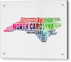 North Carolina Watercolor Word Cloud Map Acrylic Print by Naxart Studio