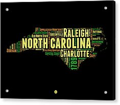North Carolina Word Cloud Map 1 Acrylic Print by Naxart Studio