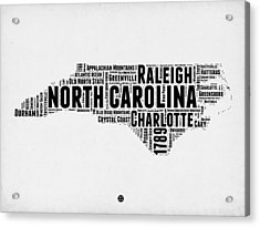 North Carolina Word Cloud Map 2 Acrylic Print by Naxart Studio