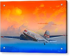 North Central Dc-3 At Sunrise Acrylic Print by J Griff Griffin
