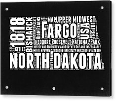 North Dakota Black And White Map Acrylic Print by Naxart Studio