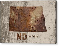 North Dakota State Map Industrial Rusted Metal On Cement Wall With Founding Date Series 025 Acrylic Print by Design Turnpike