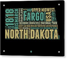 North Dakota Word Cloud 1 Acrylic Print