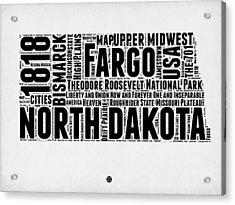 North Dakota Word Cloud 2 Acrylic Print by Naxart Studio