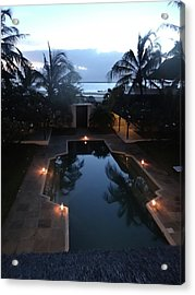 North - Eastern African Home - Sundown Over The Swimming Pool Acrylic Print by Exploramum Exploramum