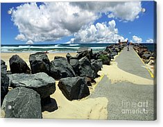 North Haven Breakwater Walkway By Kaye Menner Acrylic Print
