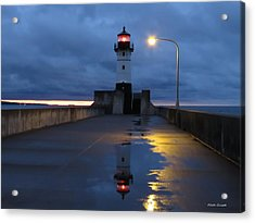 North Pier Reflections Acrylic Print by Alison Gimpel