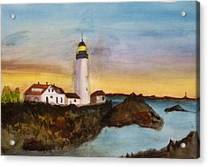 Acrylic Print featuring the painting North Truro Light House Cape Cod by Donna Walsh