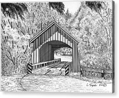 North Yachats Covered Bridge Acrylic Print by Lawrence Tripoli