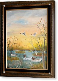 Acrylic Print featuring the painting Northen Pintails by Al  Johannessen