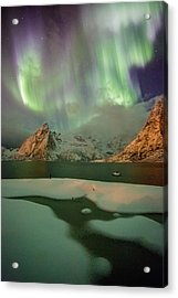 Northern Lights Above Olstinden Acrylic Print by Alex Conu