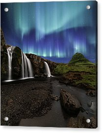 Northern Lights At Kirkjufellsfoss Waterfalls Iceland Acrylic Print by Larry Marshall