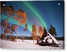 Acrylic Print featuring the photograph Northern Lights By The Lake by Delphimages Photo Creations