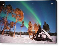 Northern Lights By The Lake Acrylic Print