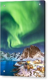 Northern Lights In Hamnoy Acrylic Print by Alex Conu