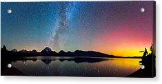 Northern Lights Over Jackson Lake Acrylic Print by Darren White