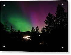 Northern Lights Over Storm Mountain Acrylic Print