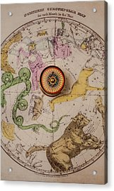 Northern Star Map And Compass Acrylic Print by Garry Gay