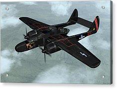 Acrylic Print featuring the digital art Northrop P-61 Black Widow by Walter Colvin