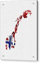 Norway Typographic Map Flag Acrylic Print