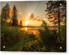 Norwegian Landscape Acrylic Print by Rose-Maries Pictures