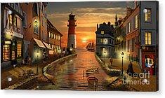 Nostalgic Harbor At Sunset Acrylic Print