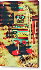 Nostalgic Tin Sign Robot Acrylic Print by Jorgo Photography - Wall Art Gallery