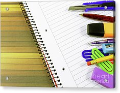 Notebook And School Supplies Acrylic Print