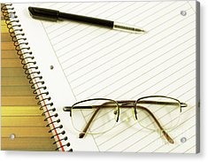 Notebook Pen And Eyeglasses Acrylic Print