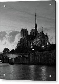 Notre Dame By Night Acrylic Print
