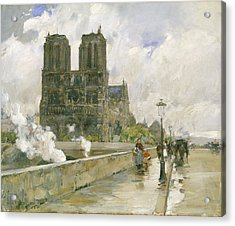 Notre Dame Cathedral - Paris Acrylic Print by Childe Hassam