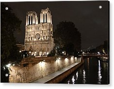 Acrylic Print featuring the photograph Notre Dame Cathedral From Petit Pont by Christopher Kirby