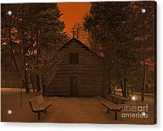 Notre Dame Log Chapel Winter Night Acrylic Print by John Stephens