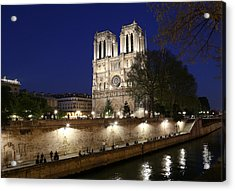 Acrylic Print featuring the photograph Notre Dame Night 1 by Andrew Fare