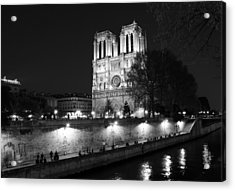 Acrylic Print featuring the photograph Notre Dame Night 1bw by Andrew Fare