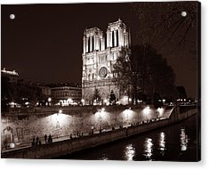 Acrylic Print featuring the photograph Notre Dame Night 1s by Andrew Fare