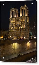 Notre Dame Night Painterly Acrylic Print