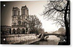 Notre Dame Of Paris And The Quays Of The Seine. Paris. France. City Acrylic Print by Bernard Jaubert