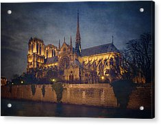 Notre Dame On The Seine Textured Acrylic Print