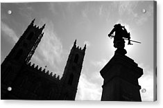 Acrylic Print featuring the photograph Notre Dame Silhouette by Valentino Visentini