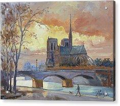 Notre Dame - Sunset, Paris Acrylic Print