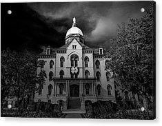 Acrylic Print featuring the photograph Notre Dame University Black White 3a by David Haskett
