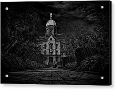 Acrylic Print featuring the photograph Notre Dame University Golden Dome Bw by David Haskett