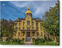 Notre Dame University Golden Dome Acrylic Print by David Haskett