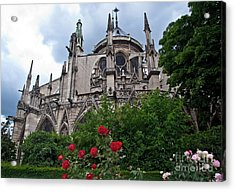 Notre Dame With Rose Garden Acrylic Print