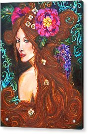 Nouveau Beauty Acrylic Print by Kimberly Van Rossum