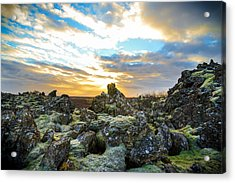 November Light Over Icelandic Lava Field Acrylic Print