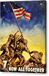 Now All Together Vintage War Poster Restored Acrylic Print by Carsten Reisinger