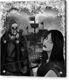 Now Or Never - Black And White Fantasy Art Acrylic Print by Raphael Lopez